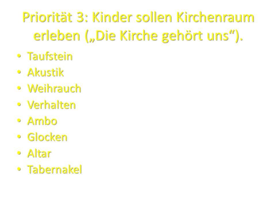"""Priorität 3: Kinder sollen Kirchenraum erleben (""""Die Kirche gehört uns )."""