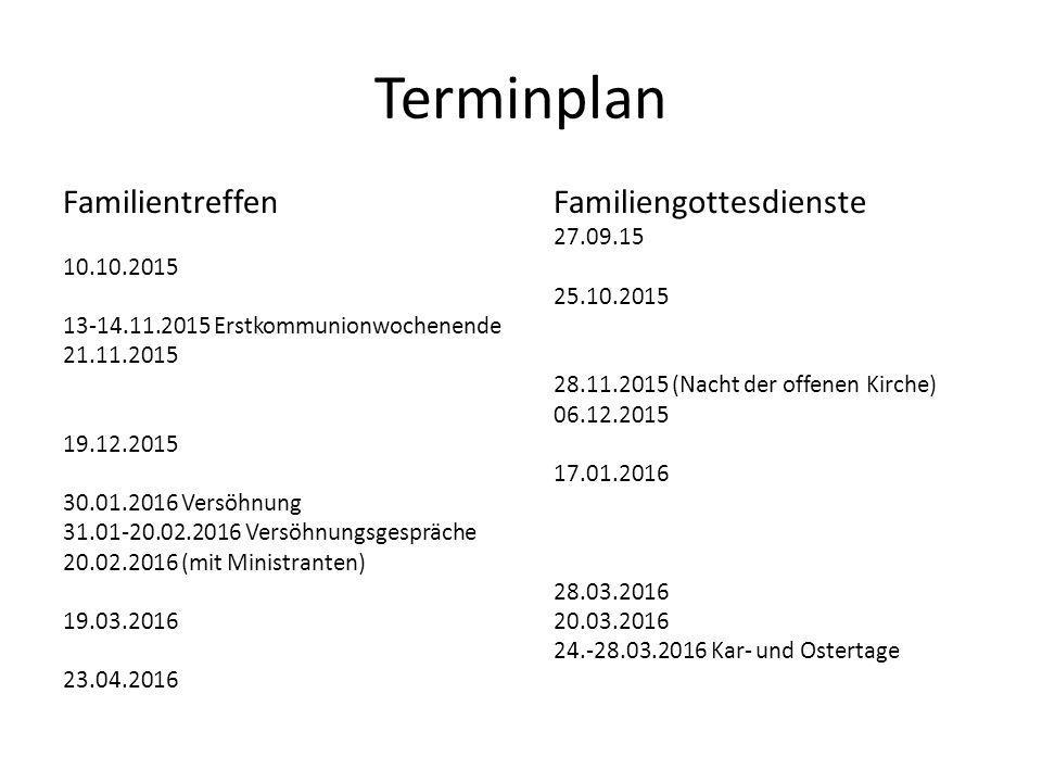 Terminplan Familientreffen Familiengottesdienste 27.09.15 10.10.2015