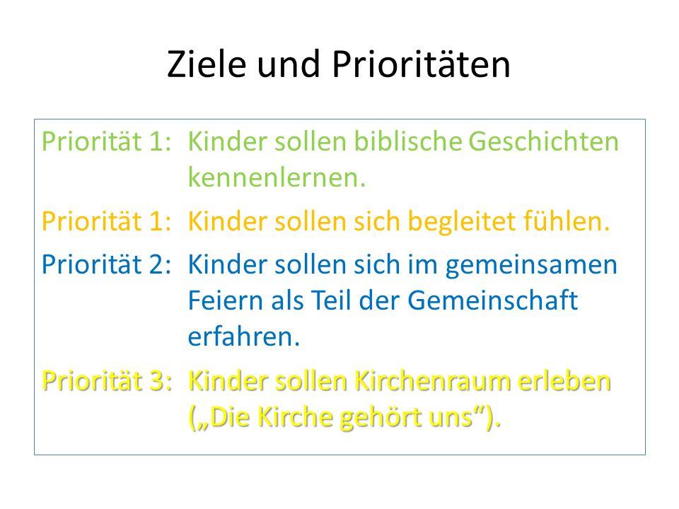 Ziele und Prioritäten Priorität 1: Kinder sollen biblische Geschichten kennenlernen. Priorität 1: Kinder sollen sich begleitet fühlen.
