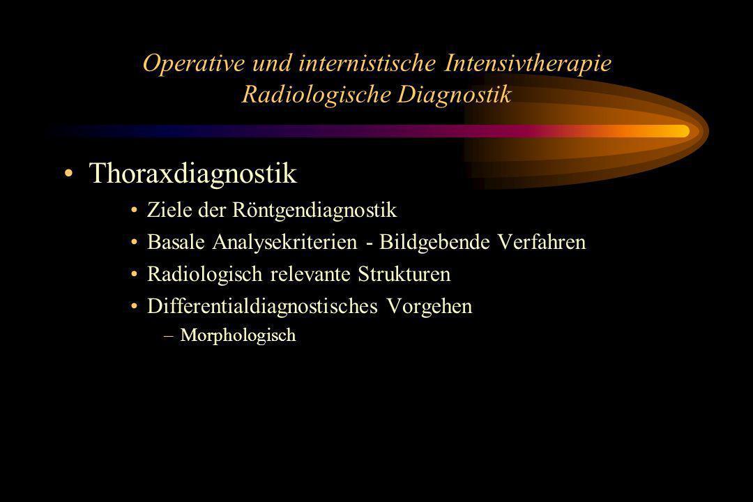 Operative und internistische Intensivtherapie Radiologische Diagnostik