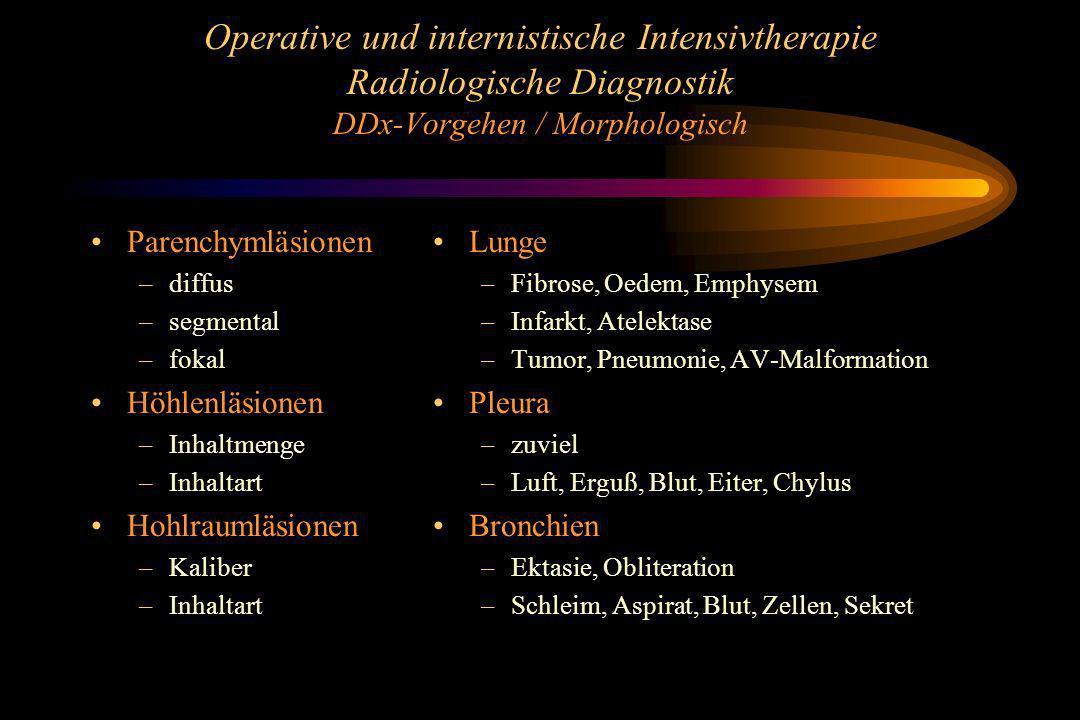 Operative und internistische Intensivtherapie Radiologische Diagnostik DDx-Vorgehen / Morphologisch