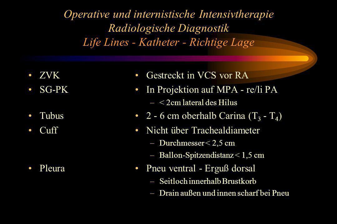 Operative und internistische Intensivtherapie Radiologische Diagnostik Life Lines - Katheter - Richtige Lage
