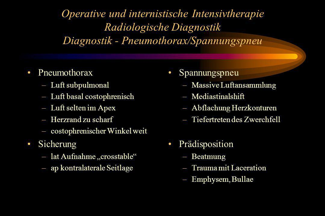 Operative und internistische Intensivtherapie Radiologische Diagnostik Diagnostik - Pneumothorax/Spannungspneu