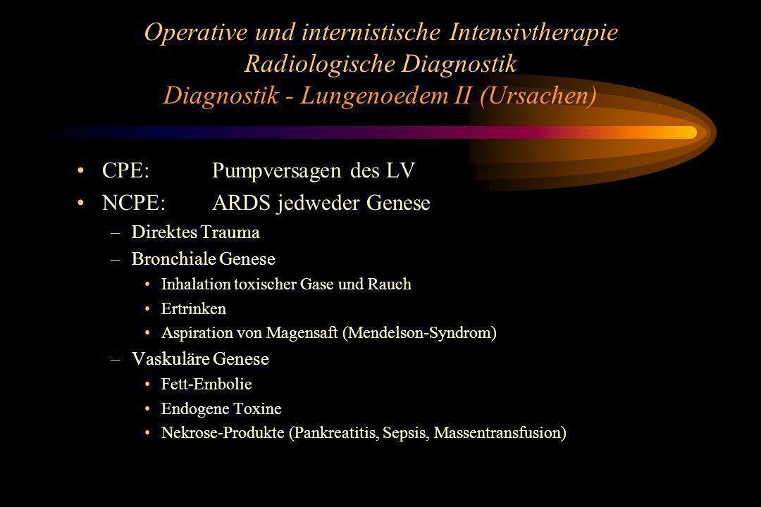 Operative und internistische Intensivtherapie Radiologische Diagnostik Diagnostik - Lungenoedem II (Ursachen)