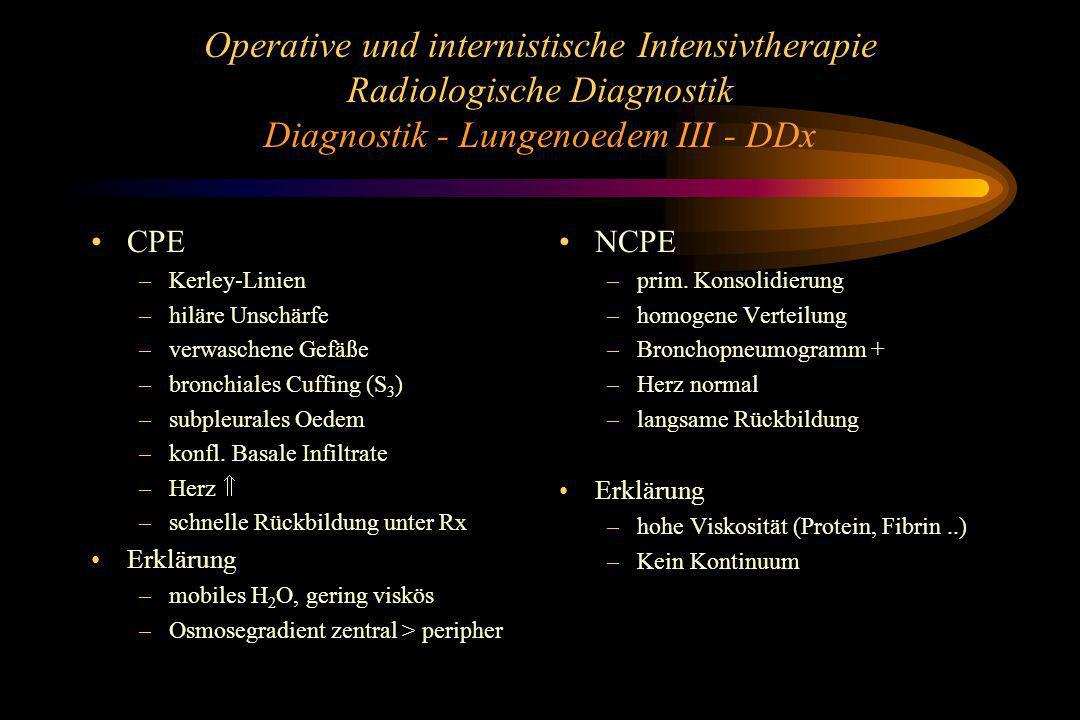 Operative und internistische Intensivtherapie Radiologische Diagnostik Diagnostik - Lungenoedem III - DDx