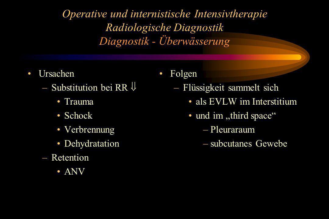 Operative und internistische Intensivtherapie Radiologische Diagnostik Diagnostik - Überwässerung