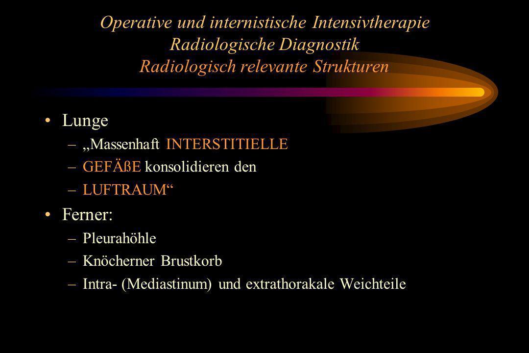 Operative und internistische Intensivtherapie Radiologische Diagnostik Radiologisch relevante Strukturen