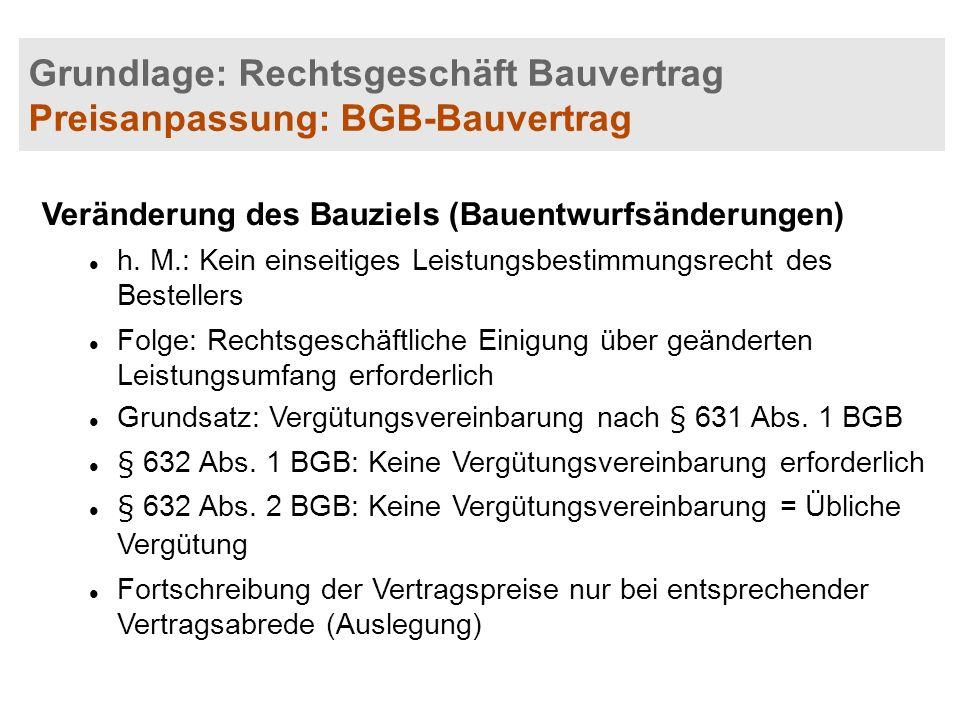 Grundlage: Rechtsgeschäft Bauvertrag Preisanpassung: BGB-Bauvertrag
