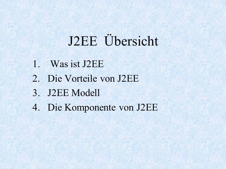 Was ist J2EE Die Vorteile von J2EE J2EE Modell Die Komponente von J2EE