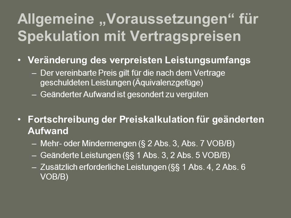 """Allgemeine """"Voraussetzungen für Spekulation mit Vertragspreisen"""