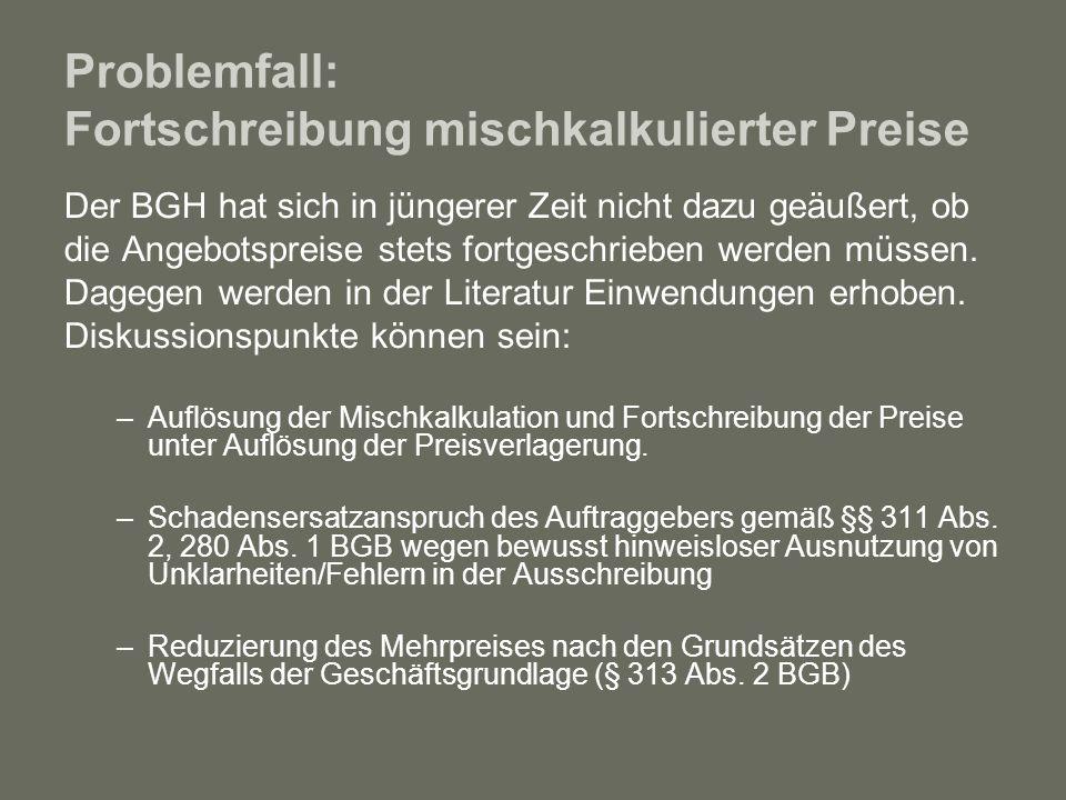 Problemfall: Fortschreibung mischkalkulierter Preise