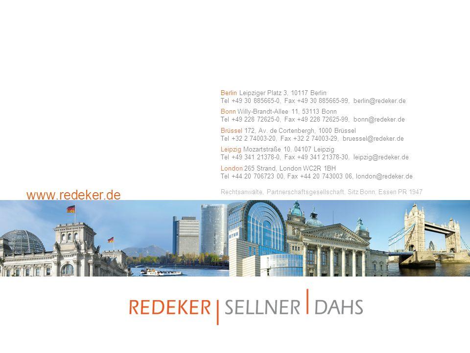 www.redeker.de Berlin Leipziger Platz 3, 10117 Berlin Tel +49 30 885665-0, Fax +49 30 885665-99, berlin@redeker.de.