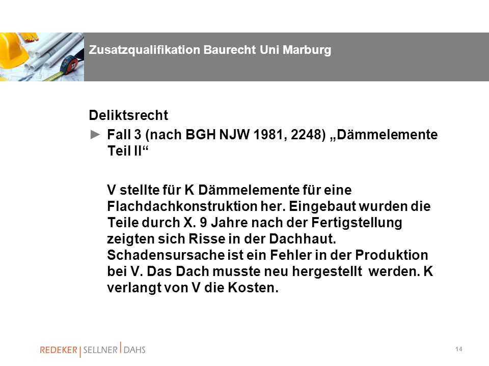 Zusatzqualifikation Baurecht Uni Marburg