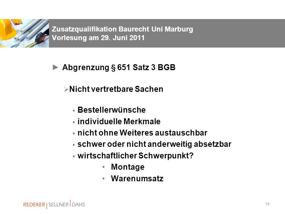 Zusatzqualifikation Baurecht Uni Marburg Vorlesung am 29. Juni 2011
