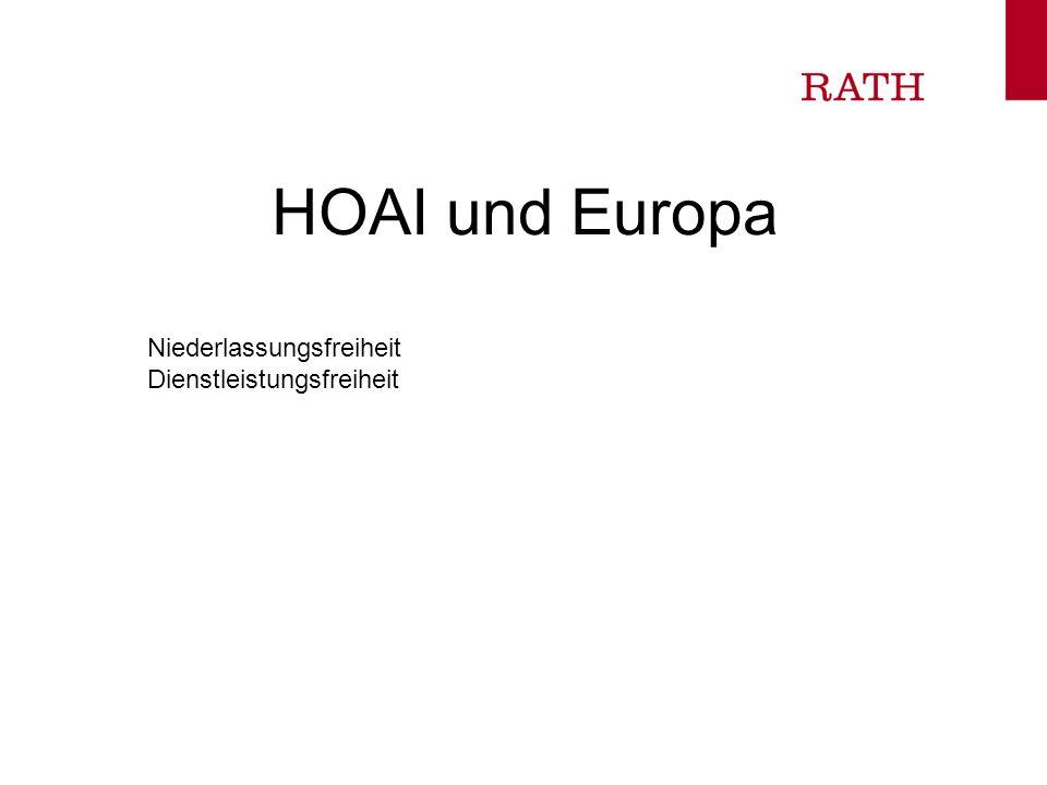 HOAI und Europa Niederlassungsfreiheit Dienstleistungsfreiheit