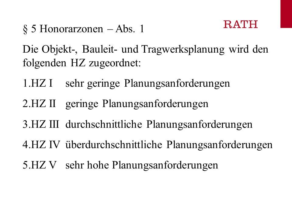 § 5 Honorarzonen – Abs. 1Die Objekt-, Bauleit- und Tragwerksplanung wird den folgenden HZ zugeordnet: