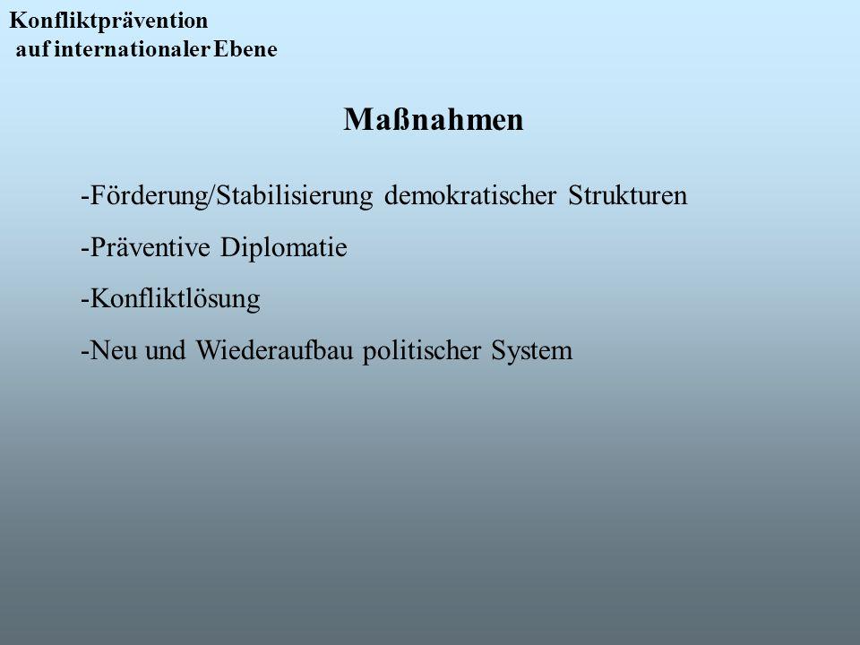 Maßnahmen Förderung/Stabilisierung demokratischer Strukturen