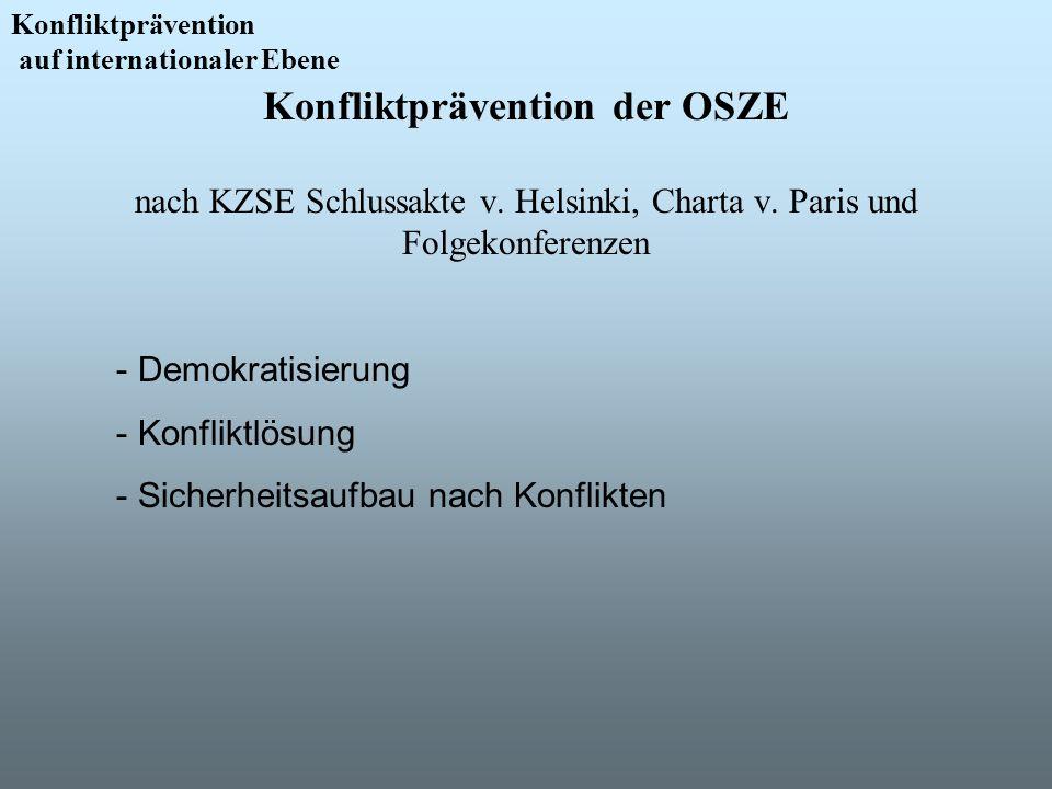 Konfliktprävention auf internationaler Ebene. Konfliktprävention der OSZE nach KZSE Schlussakte v. Helsinki, Charta v. Paris und Folgekonferenzen.