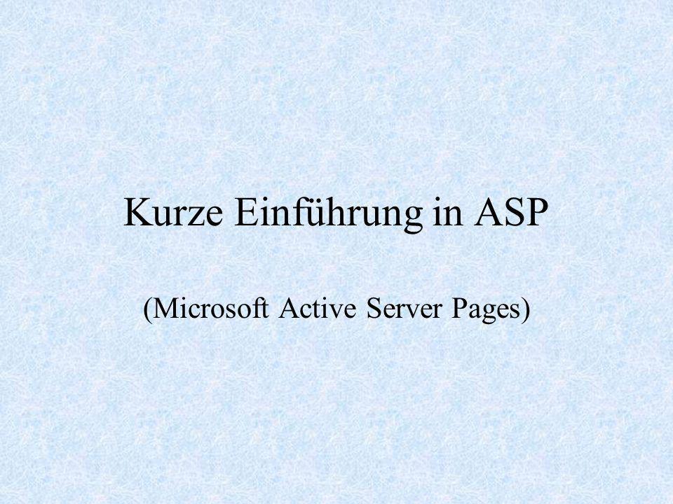 Kurze Einführung in ASP
