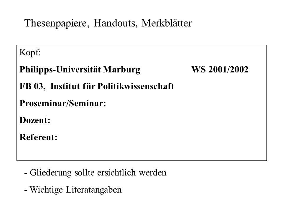 Thesenpapiere, Handouts, Merkblätter