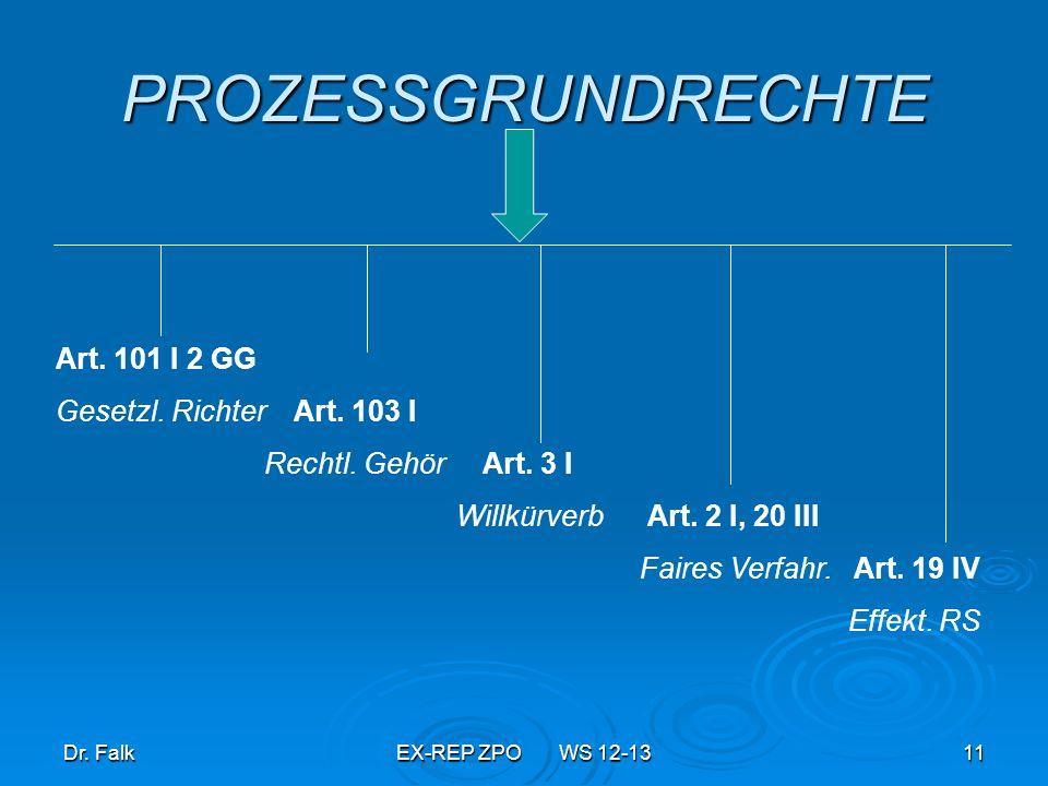 PROZESSGRUNDRECHTE Art. 101 I 2 GG Gesetzl. Richter Art. 103 I