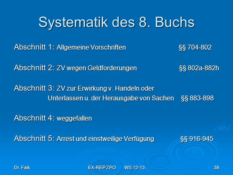 Systematik des 8. Buchs Abschnitt 1: Allgemeine Vorschriften §§ 704-802.