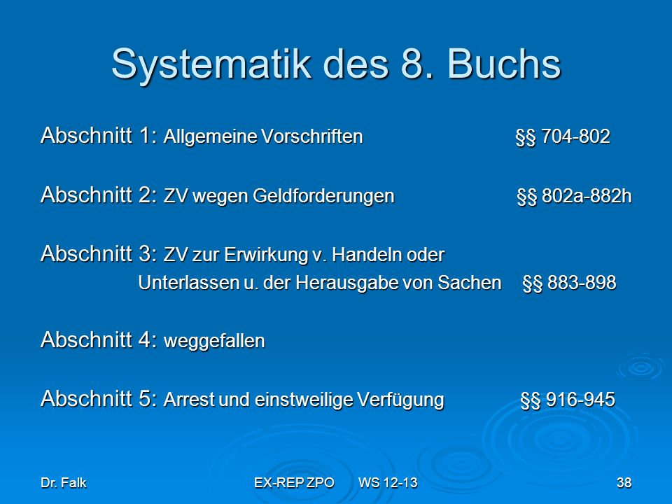 Systematik des 8. BuchsAbschnitt 1: Allgemeine Vorschriften §§ 704-802.