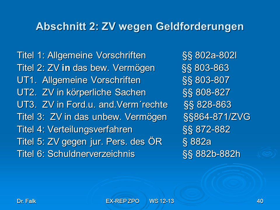 Abschnitt 2: ZV wegen Geldforderungen