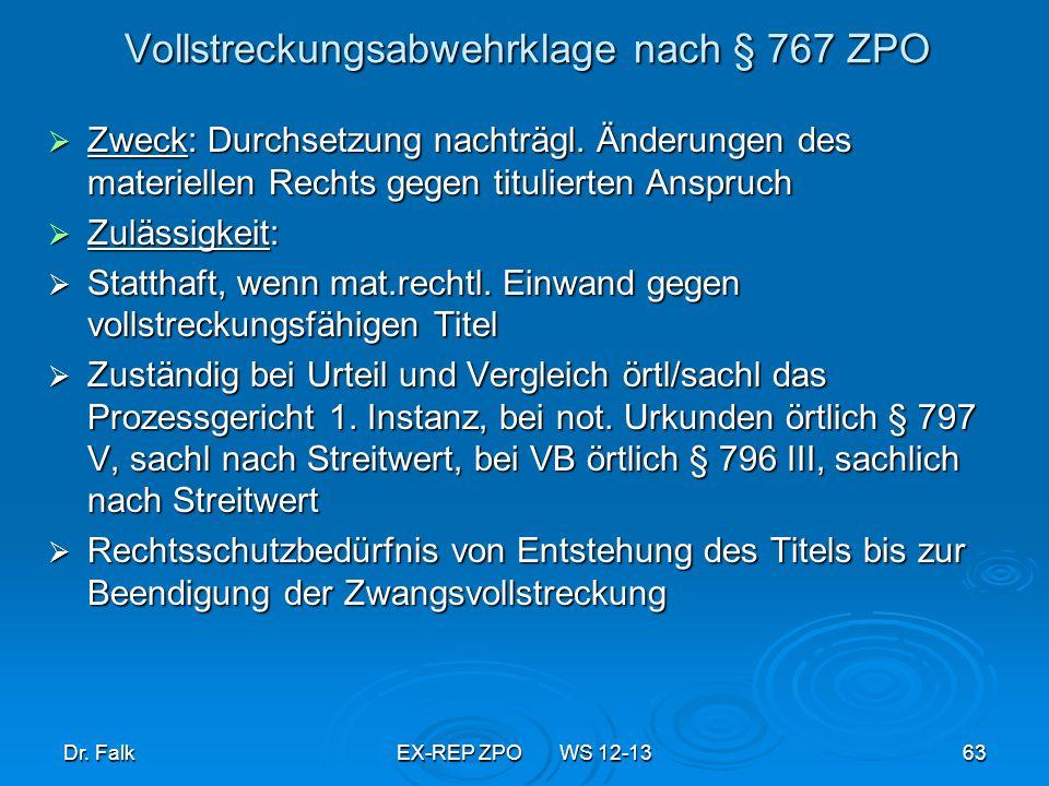 Vollstreckungsabwehrklage nach § 767 ZPO
