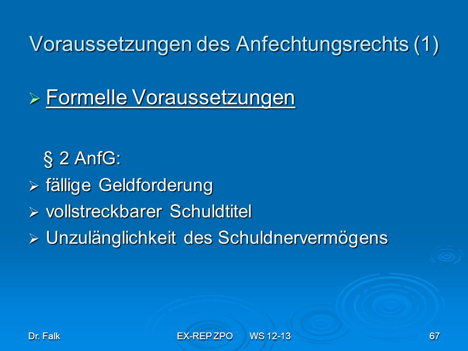 Voraussetzungen des Anfechtungsrechts (1)