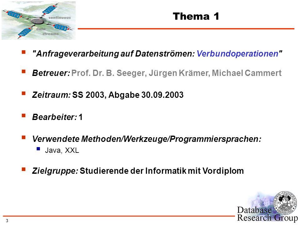 Thema 1 Anfrageverarbeitung auf Datenströmen: Verbundoperationen