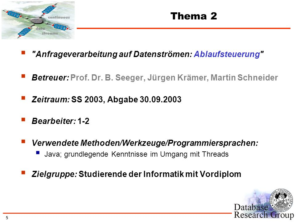 Thema 2 Anfrageverarbeitung auf Datenströmen: Ablaufsteuerung