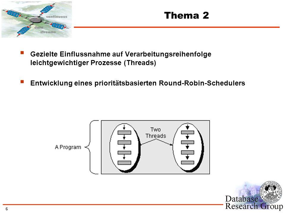 Thema 2 Gezielte Einflussnahme auf Verarbeitungsreihenfolge leichtgewichtiger Prozesse (Threads)