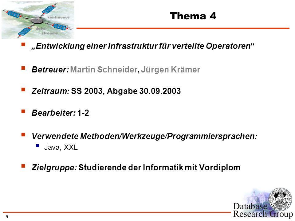 """Thema 4 """"Entwicklung einer Infrastruktur für verteilte Operatoren"""