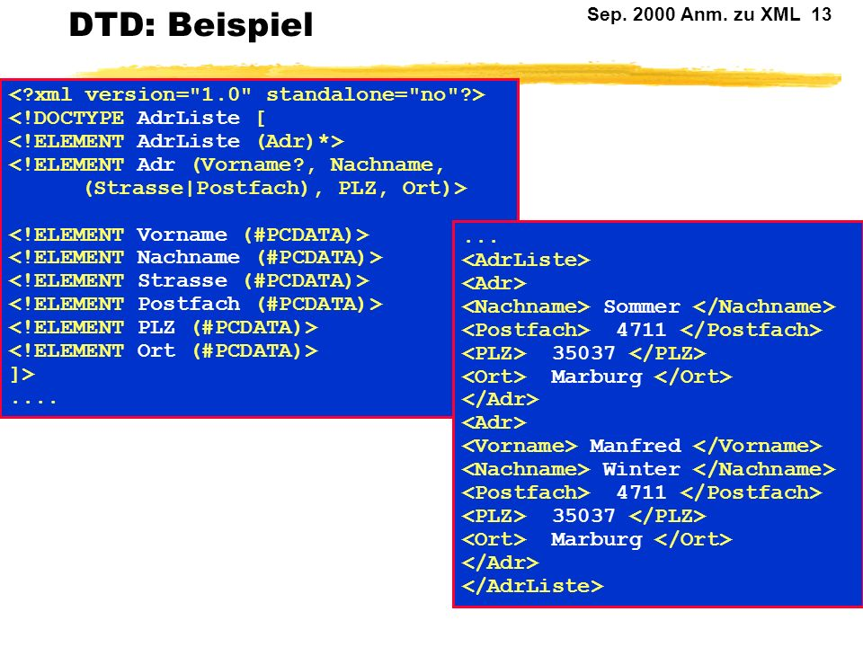 DTD: Beispiel < xml version= 1.0 standalone= no >