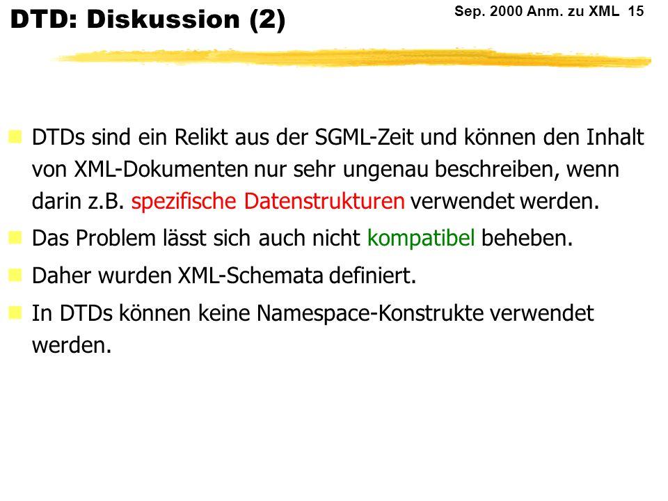 DTD: Diskussion (2)