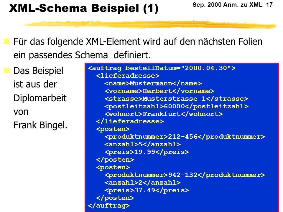 XML-Schema Beispiel (1)
