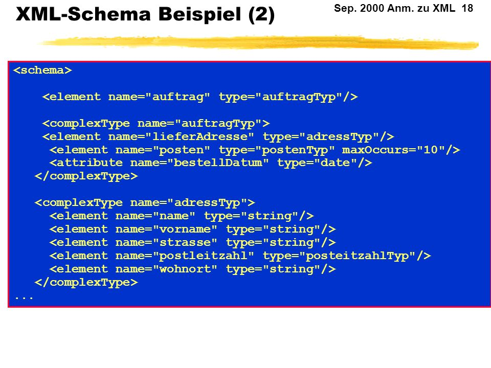 XML-Schema Beispiel (2)