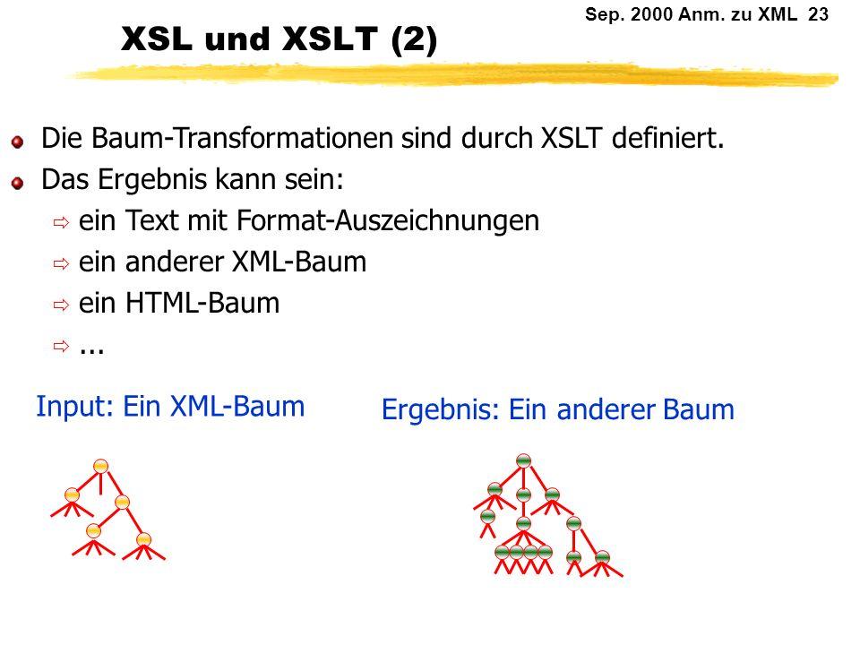 XSL und XSLT (2) Die Baum-Transformationen sind durch XSLT definiert.
