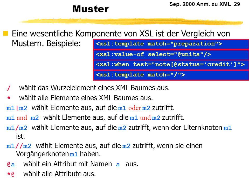 Muster Eine wesentliche Komponente von XSL ist der Vergleich von Mustern. Beispiele: <xsl:template match= preparation >