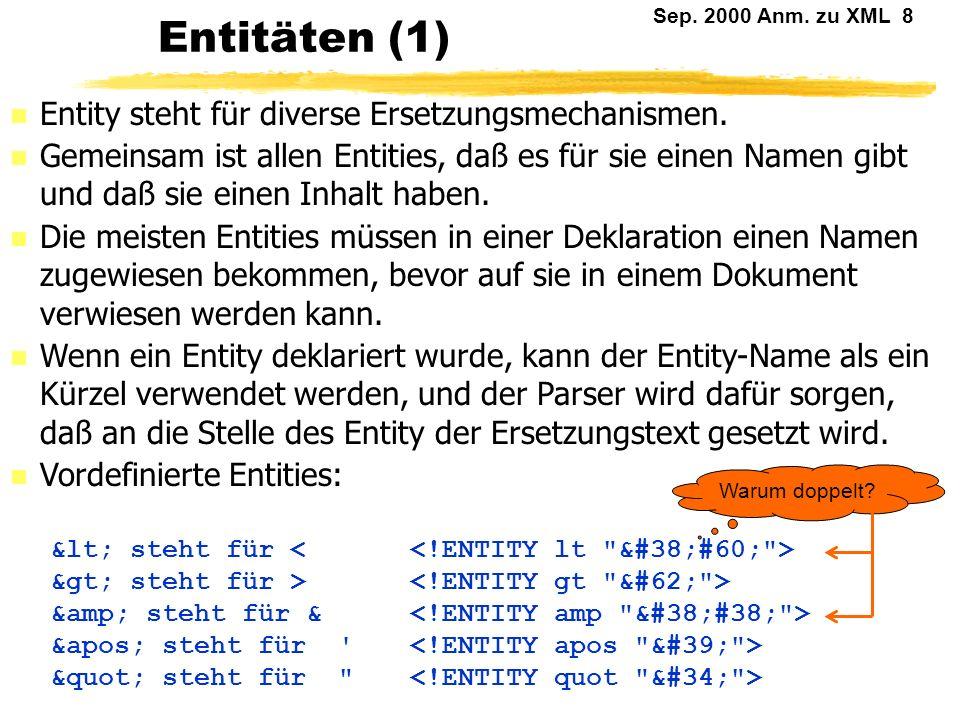Entitäten (1) Entity steht für diverse Ersetzungsmechanismen.
