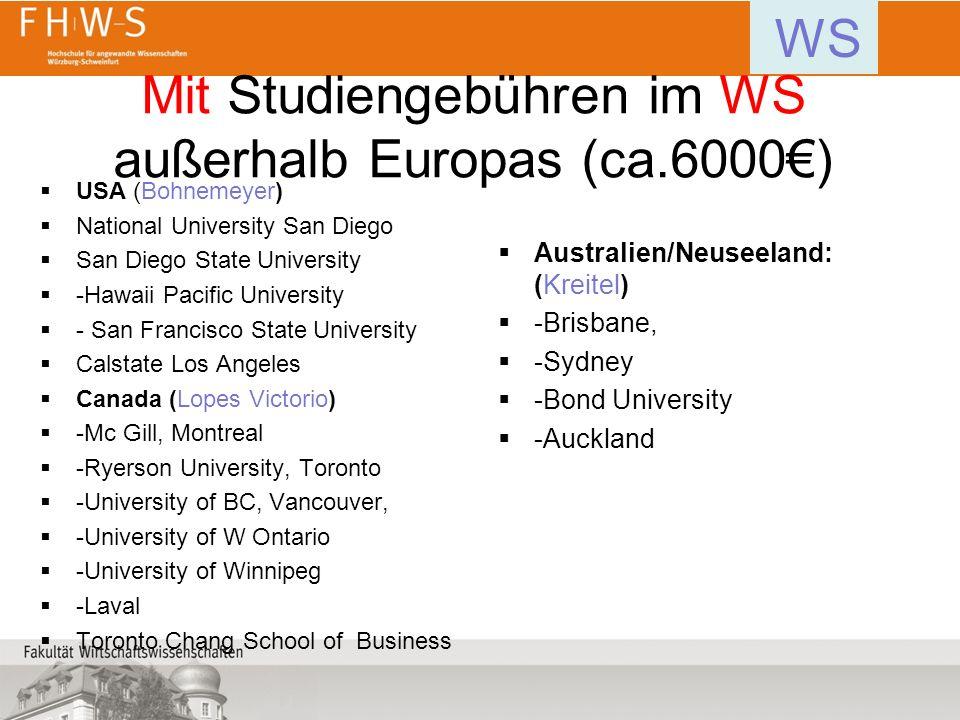 Mit Studiengebühren im WS außerhalb Europas (ca.6000€)