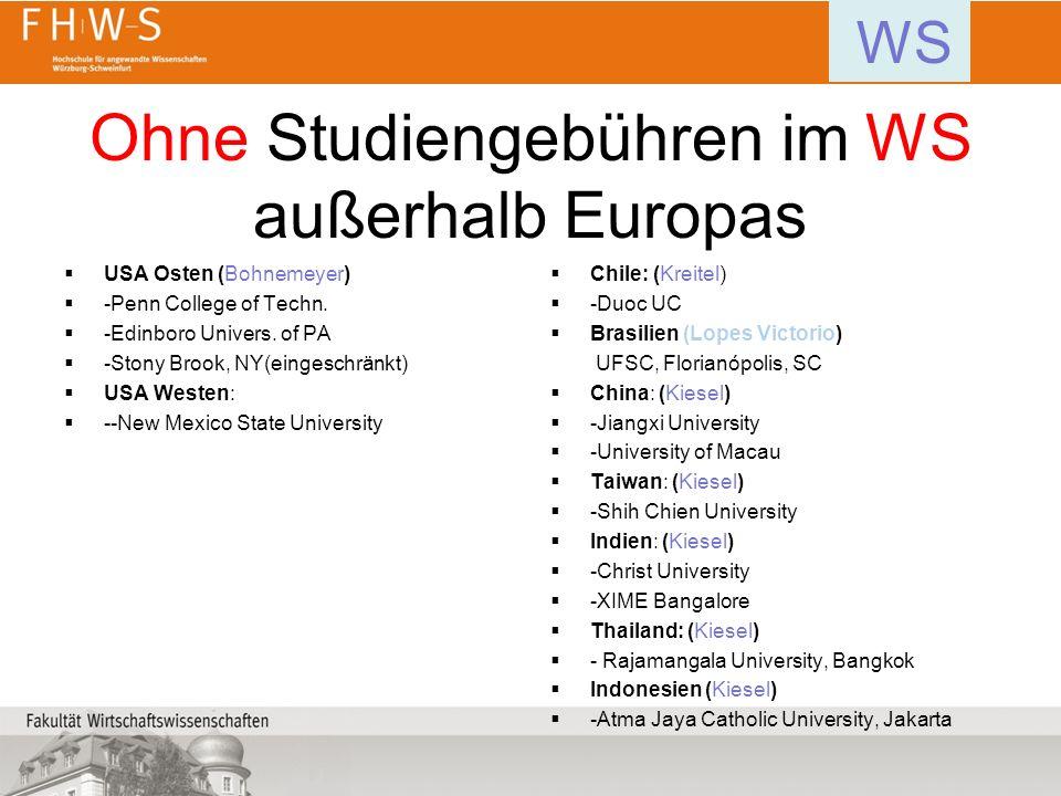 Ohne Studiengebühren im WS außerhalb Europas