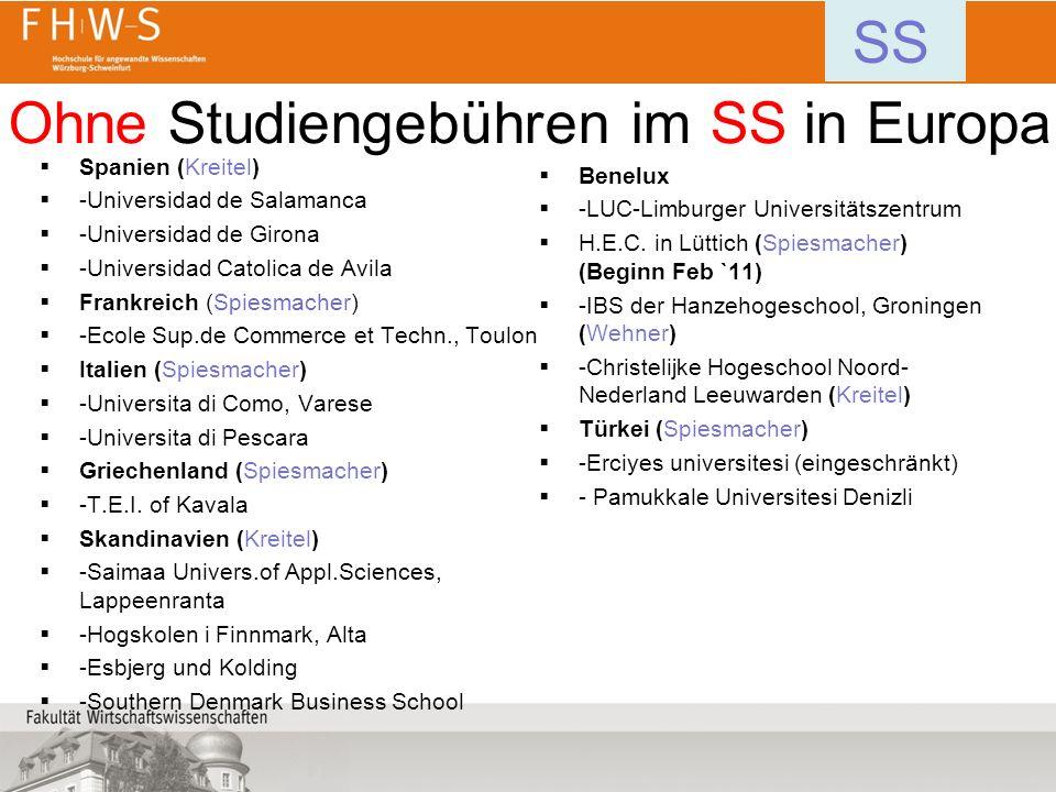 Ohne Studiengebühren im SS in Europa