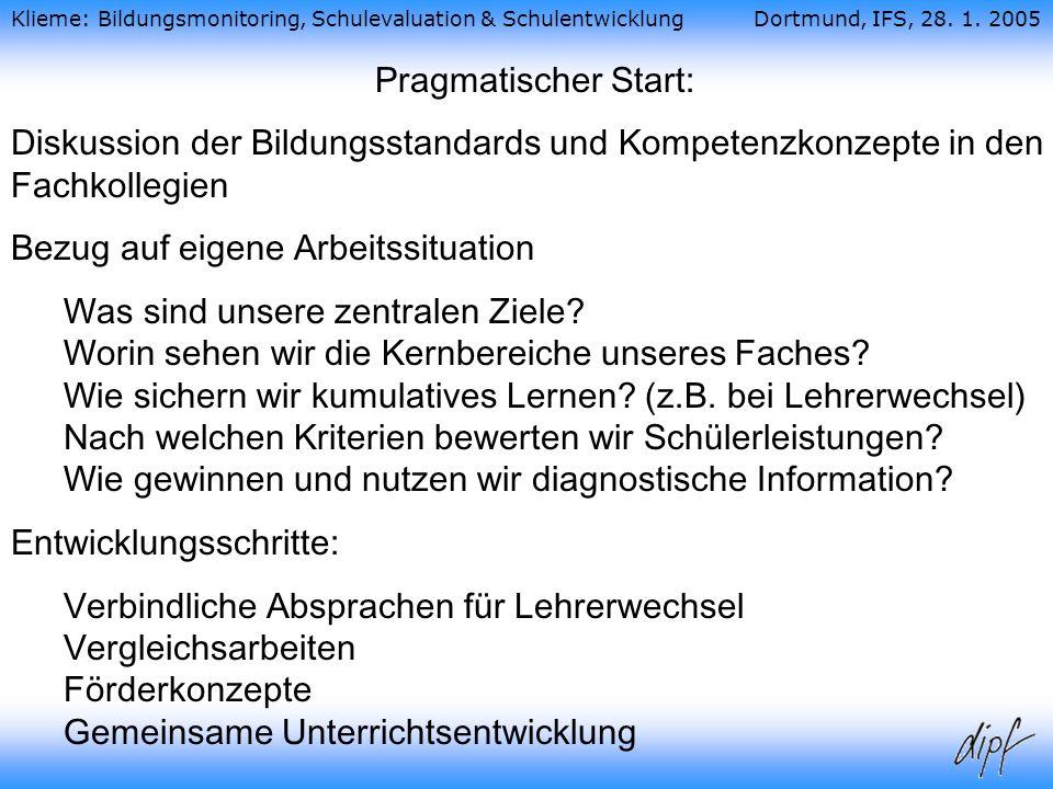 Pragmatischer Start: Diskussion der Bildungsstandards und Kompetenzkonzepte in den Fachkollegien. Bezug auf eigene Arbeitssituation.