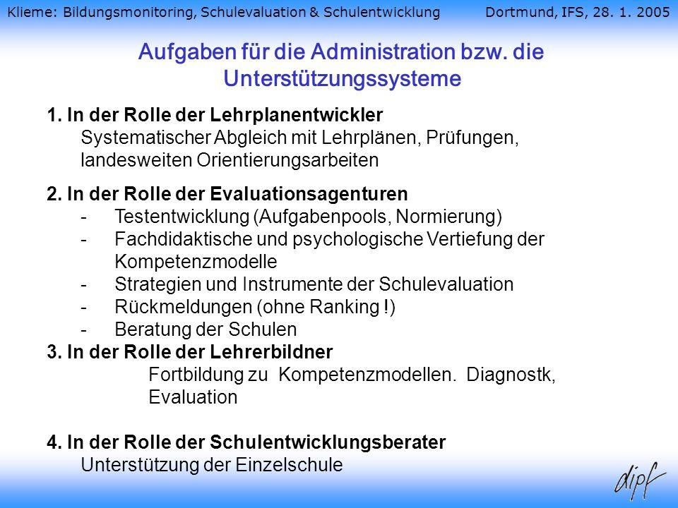 Aufgaben für die Administration bzw. die Unterstützungssysteme