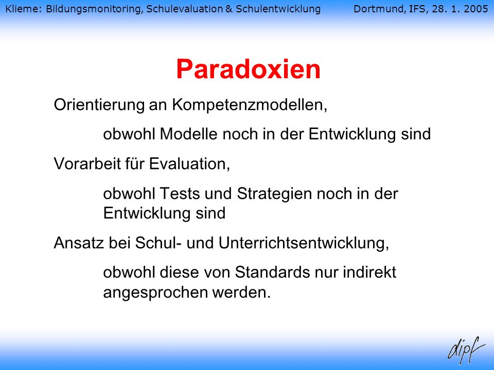 Paradoxien Orientierung an Kompetenzmodellen,
