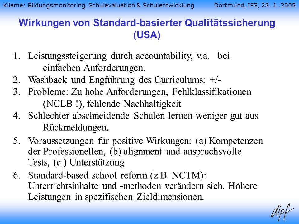 Wirkungen von Standard-basierter Qualitätssicherung (USA)