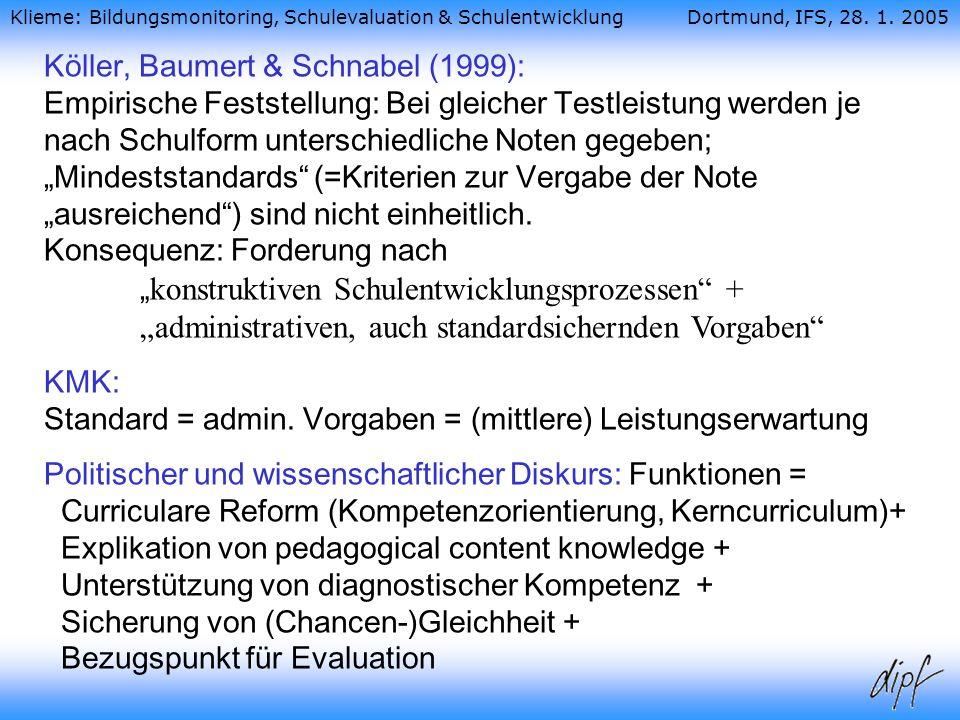 """Köller, Baumert & Schnabel (1999): Empirische Feststellung: Bei gleicher Testleistung werden je nach Schulform unterschiedliche Noten gegeben; """"Mindeststandards (=Kriterien zur Vergabe der Note """"ausreichend ) sind nicht einheitlich. Konsequenz: Forderung nach """"konstruktiven Schulentwicklungsprozessen + """"administrativen, auch standardsichernden Vorgaben"""