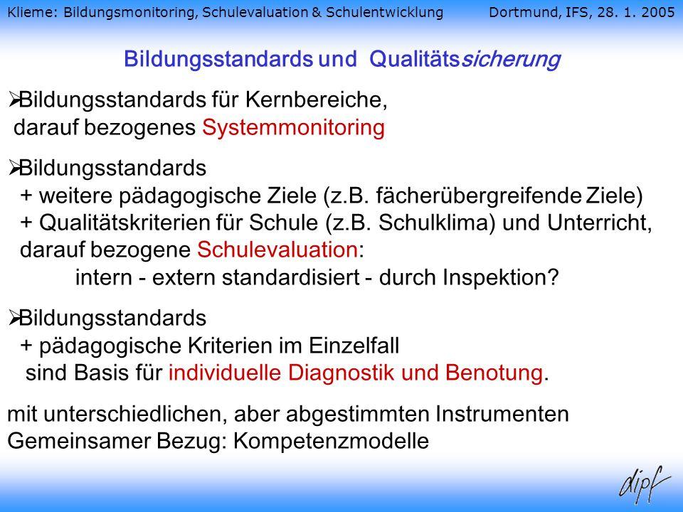 Bildungsstandards und Qualitätssicherung